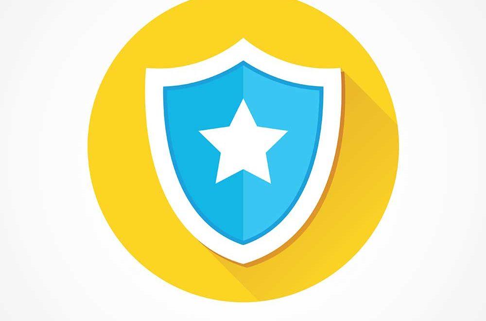 blue shield on a yellow circle
